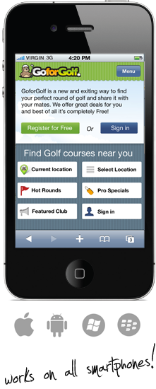GoforGolf, works on Iphone, Android, Windows and Blackberry